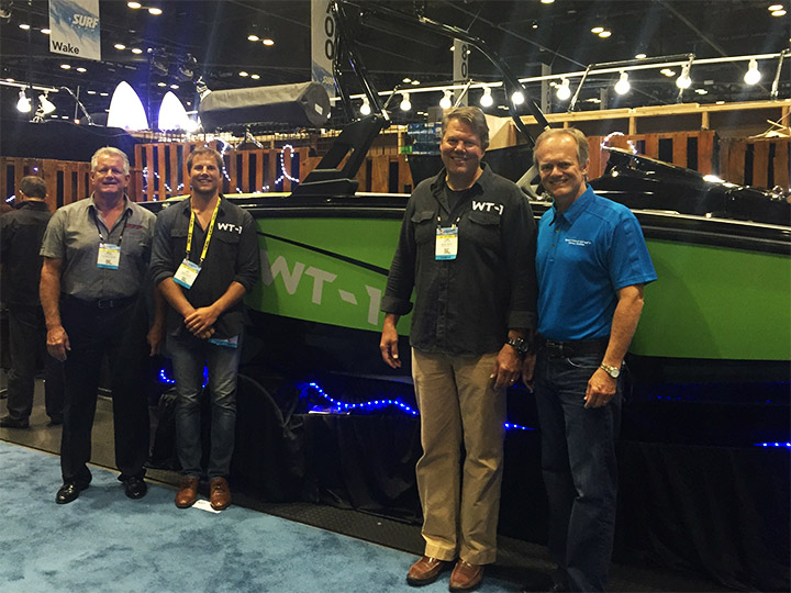 (L to R: PEG VP of Operations, Mark McKinney; Wake Tractor Brand Manager, Ben Dorton; Bryant Boats Chairman, John Dorton; Correct Craft CEO, Bill Yeargin)